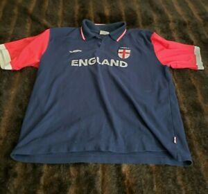 Umbro England Mens XL Short Sleeve Polo Shirt Blue Red Rugby