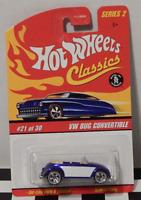 Hot Wheels Classics VW Bug Convertible Spectra Blue Spoke 5 White Line S2 21/30