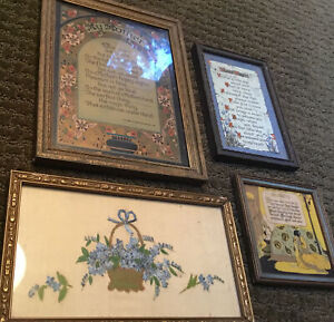 VINTAGE 1920s LOT MOTTO FRAMED ART DECO MOTHER FRIENDSHIP Mothers Day Gift