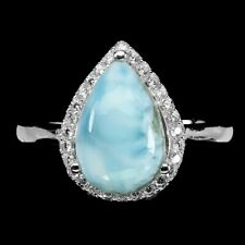 Unheated Pear Larimar 12x8mm Cz 14K White Gold Plate 925 Sterling Silver Ring 9
