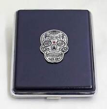 100 mm Black Leather 20pcs Cigarette Case/ID Holder - Spider Sugar Skull