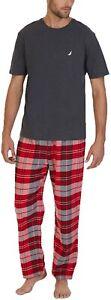 Nautica Mens Grey Red Plaid Flannel Pajama Shirt Pants Set Sz Small S 18841-B