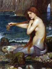 "William Waterhouse. a-mermaid. stampa su tela 22 ""x 28"""