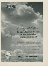 1952 Shell Aviation Oil Ad Chicago & Southern Air Lines Engine Service Record