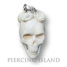 2cm Skull Totenkopf Schlange Okkult Amulett Anhänger Horn mit ECHT Silber PB252