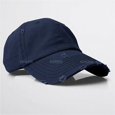 Vintage Distressed 100% Cotton Solid Polo Denim Baseball Cap Hat Ball Dad Washed