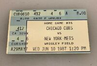 Chicago Cubs vs New York Mets Ticket Stub Wrigley Field 6/10/87 1987 Doc Gooden
