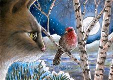 Art Print 5x7 Cat 600 bird winter from original painting by L.Dumas