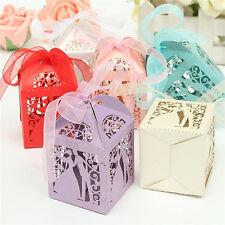 50pcs Boîte à dragées Bonbons Cage Cœur Ciselé Ballotin Cadeau Mariage