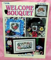 Leisure Arts Welcome Bouquet Cross Stitch Chart Leaflet Floral Signs, 23 Designs