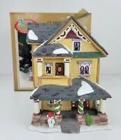 Dickens Collectables Classic Series Porcelain Lighted Yellow House Snowman 1997