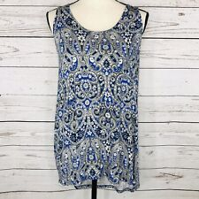 Rose + Olive Womens Large Top Sleeveless Stretch Hi-Low Geometric Floral Keyhole