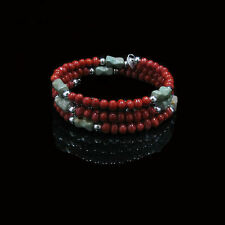 QVC .925 Sterling Silver Natural Green Kingman Turquoise Coral Coil Bracelet