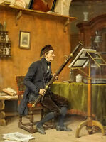 Oil painting Gerard Portielje - the bassoon player man portrait playing - canvas