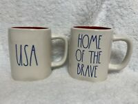 NEW (2) Rae Dunn USA & HOME OF BRAVE Mug Red Interior HTF *EXPERT SHIPPER*