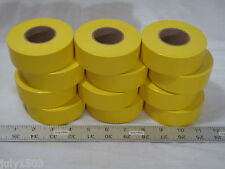 "(12) rolls Yellow Flagging Tape 1-3/16"" x 300' 2 mil Trail Marking Free Shipping"