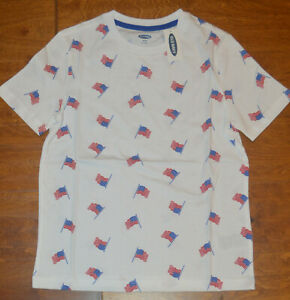 Boy's Old Navy American Flag USA Short Sleeve T-Shirt Top Size M (8)
