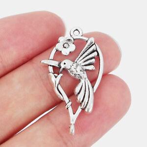 20pcs Tibetan Silver Heart Flower Bird Charms Pendants Finding 36x21mm