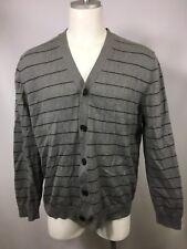 Gap Cardigan Cotton Sweater Gray Blue Stripe Large Mens