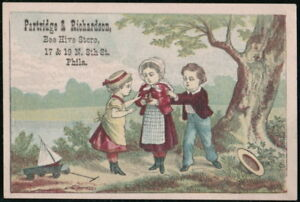 PARTRIDGE & RICHARDSON Philadelphia Vtg Victorian Trade Card Kids w/ Bird's Nest