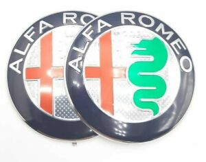 2x Logo Embleme calandre ALFA ROMEO Argent MITO GIULIETTA 147 156 159 BRERA GT