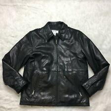 Calvin Klein Leather Bomber Jacket Black Medium J5