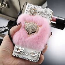 Luxury Leather Wallet Flip Phones Case Fluffy Rabbit Fur Bling Diamond Fox Cover