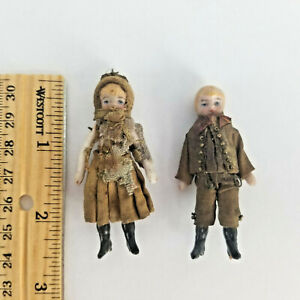 """2-1/2"""" all Orig antique bisque German Miniature Dollhouse Doll Couple """"As Found"""""""