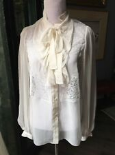 Dolce Gabbana Super Delicate Silk and Lace Blouse  38