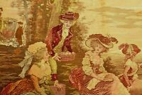 """Vintage Aubusson Tapestry. """"Picnic and Romance."""" Wall Hanging. French Loomed."""