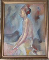 CHARLES? PAINTING EXPRESSIONIST MODERN MID CENTURY 1950'S ABSTRACT NUDE VINTAGE