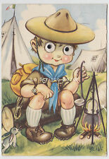 1967 GALBI cartolina OCCHI MOBILI campo Boy Scout moving eyes vintage postcard