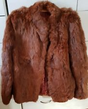 FOX FUR Hair Hide Jacket Coat Brown Soft Size S/M Made in New Zealand VGC B9