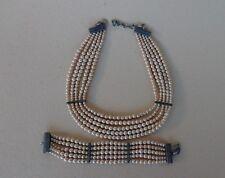 Christian Dior parure collier & bracelet de perles, bijoux vintage d'occasion