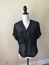 Helmut Lang Short Sleeve Button Down Shirt Black Sz P Silk Blend