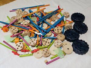 Lot of Vintage Tinker Toys Mixed Lot Wooden Wheels, Sticks,