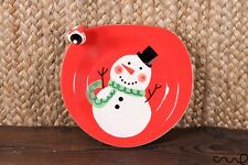 (Grade B) NEW Hand painted 3D Red Snowman Ceramic Christmas Plate Cookie Treat