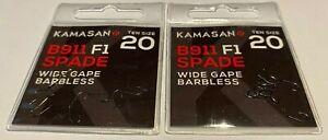 Kamasan B911 F1 Barbless Spade End Wide Gape Hooks - 2 packs (20 Hooks) -Size 20
