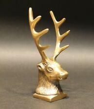 Antique Style Brass Elk Deer Stag Pen Holder Desk Stand
