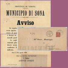 65207  - ITALIA REGNO - STORIA POSTALE :  MANIFESTO da SONA Verona 1886