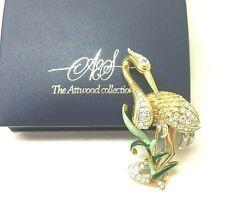 Sawyer Rare Heron Brooch Pin Vintage Jewellery Beautiful Attwood &
