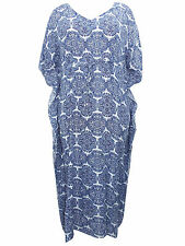 Phool BLUE Printed Drawcord Kaftan Dress - OneSize PLUS SIZE to fit 20 22 24 26