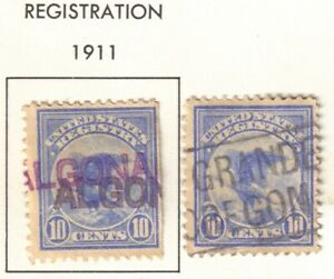 US 1911 10c Registration Stamps, Used, Hinged, Lot of 2