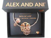 Alex and Ani Path of Life IV Bangle Bracelet Rose Gold New Tag Box Card