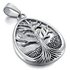 MENDINO Men's 316L Stainless Steel Pendant Necklace Hollow Tree of Life Eternity