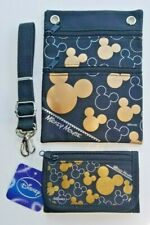 Disney Gold / Black Mickey Mouse Passport Holder Purse and Tri Fold Wallet