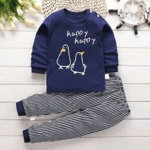 2PCS Newborn Toddler Baby Girl Boys Clothes Top Pants Outfits Set Tracksuit