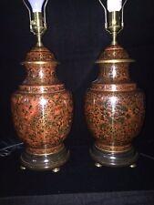 Pair of Large Vintage Cloisonne Table Lamps