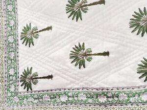 Royal Palm Tree Block Printed Green Comforter Ethnic Reversible Jaipuri Razai