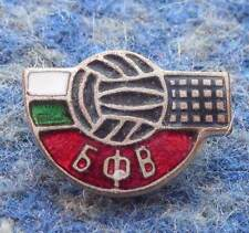 BULGARIA VOLLEYBALL FEDERATION UNION 1960's SMALLER SILVER VERS. ENAMEL PIN